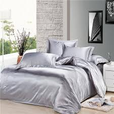 Silver Duvet Cover Genuine Silk Soft Satin Single Double Queen King Size Bed Quilt