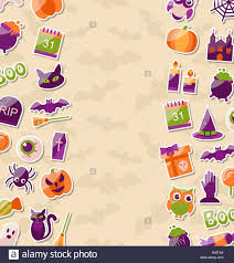 background for halloween cute background for halloween party with colorful flat icons stock