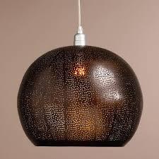 world market pendant light bronze perforated hanging pendant l world market