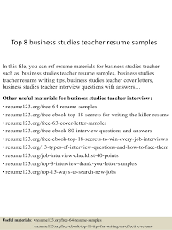 Resume For Teacher Sample by Top 8 Business Studies Teacher Resume Samples 1 638 Jpg Cb U003d1432822845