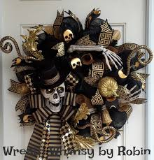 halloween skeleton black u0026 gold deco mesh wreath skeleton wreath