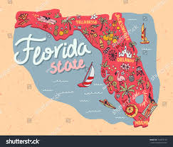 Florida Attractions Map Illustrated Map State Florida Usa Travel Stock Vector 744375175