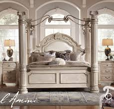 Poster Bed Canopy Aico Monte Carlo Ii King Size Poster Bed With Canopy In Silver