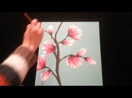 how to paint magnolia blossoms step by step youtube
