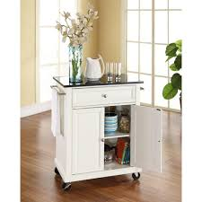 crosley white kitchen cart with black granite top kf30024ewh the