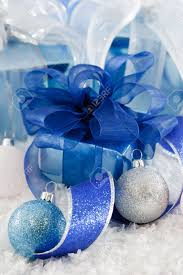 cool blue white and silver wrapping paper and ribbon make a