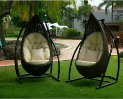 Modern Patio Swing Belle Hanging Egg Chair Black Wicker Swing Burnt Orange Cool
