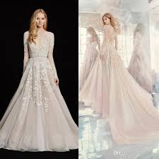 Pink Wedding Dresses With Sleeves Discount Jlm Couture 2017 Long Sleeve Wedding Dresses Light Pink