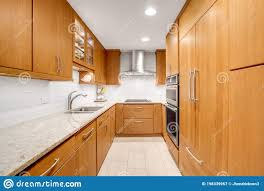 light wood kitchen cabinets modern a light wood modern kitchen with stainless steel appliances