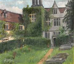 English Tudor Houses by View Of The Back Of A Tudor House Overlooking A Graveyard Art Uk