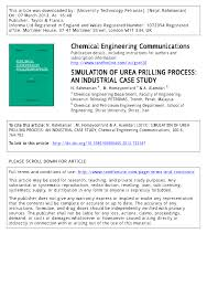 simulation of urea prilling process an industrial case study pdf