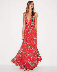 floral dresses floral cut out elastic waist maxi dress express