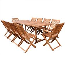 wood 11 piece outdoor dining set acacia wood 87