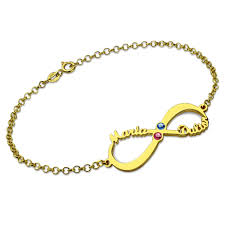 birthstone bracelet for 18 k gold personalized infinity name birthstone bracelet for