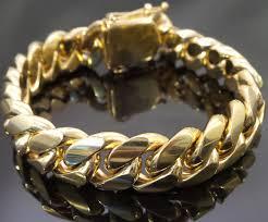 cuban gold bracelet images 14k gold mens cuban link bracelet high quality stainless steel ebay jpg