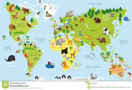 Labeled World Map by Funny Cartoon World Map With Traditional Animals Of All The