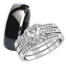 cute wedding rings images His hers 4pcs black titanium matching band cute women princess cut jpg