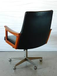 Midcentury Modern Desk - furniture mid century wooden swivel chair with black tufted with