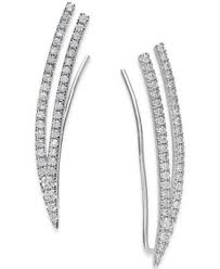 climber earrings diamond ear climber earrings 1 2 ct t w in 14k white gold