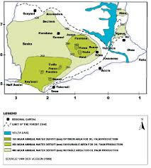 map of ghana showing the oil palm growing areas