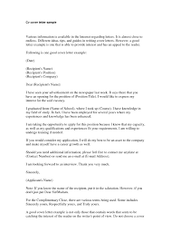 Examples Cover Letter For Resume Template Resume Builder