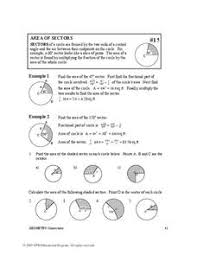 Area Of Sector Worksheet Area Of Sectors 10th Higher Ed Worksheet Lesson Planet