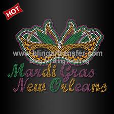 mardi gras wholesale hot sale custom rhinestone transfer mardi gras mask wholesale iron