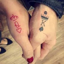 61 cute couple tattoos that will warm your heart black king red