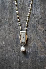 vintage necklace watch pendant images Redesigned art deco necklace vintage watch necklace faux pearl jpg