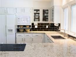 Backsplash With White Kitchen Cabinets Kitchen Amusing White Kitchen Cabinets With Tan Quartz