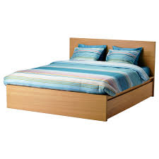 malm bed frame high w 2 storage boxes oak veneer luröy standard