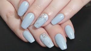 nail art simple grey marble coffin nails gel nail polish youtube