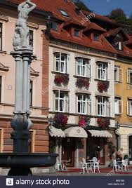 slovenia ljubljana gornji trg antiq hotel street scene stock