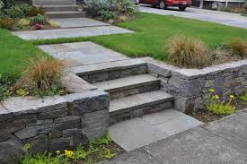 Retaining Wall Stairs Design Basalt Retaining Wall Bluestone Stairs Path Traditional