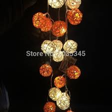 rattan ball fairy lights led battery rattan string lights 20pcs white orange rattan balls