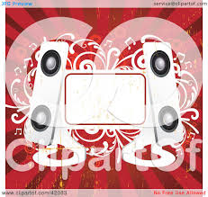 clipart illustration of a red and white grunge music background of