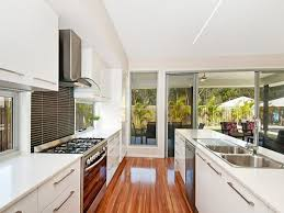 white modern galley kitchen idea with extravagant look modern