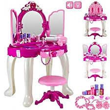 childrens dressing table mirror with lights girls glamour mirror makeup dressing table stool playset toy vanity
