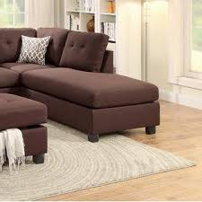 esofastore chocolate polyfiber reversible sectional sofa couch l r