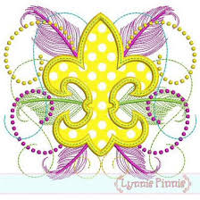 fancy mardi gras fancy fleur de lis applique 4x4 5x7 6x10 machine embroidery design