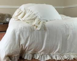 full queen king ruffle duvet cover white or ivory