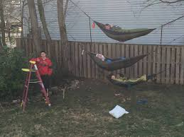 backyard tri hammock setup hammocks