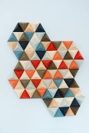 wood wall art geometric hexagon set of 2 mid century wall art