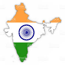 Flag If India India Map Outline With Indian Flag On White With Shadows 3d