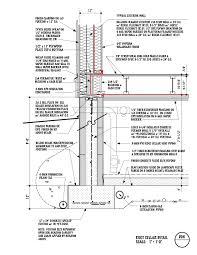 concrete block foundation wall detail architectural presentation