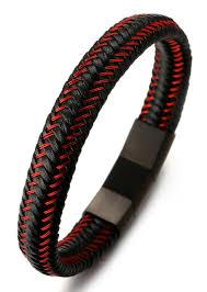 bracelet with magnetic images Jazz quot men 39 s genuine leather bracelet titanium magnetic clasp size jpg