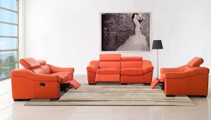 simple modern apartment living room design with orange leather