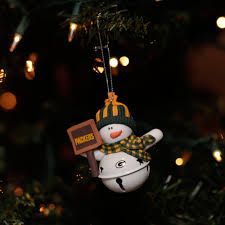green bay packers snowman bell ornament at the packers pro shop