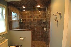 Rain Shower Bathroom by Bathroom Curved Doorless Shower With Rain Shower And Teak Shower