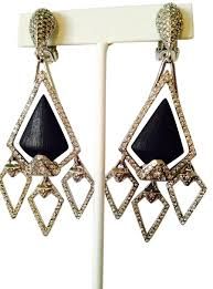 clip on chandelier earrings bittar black silver nwot pave crystals lucite chandelier